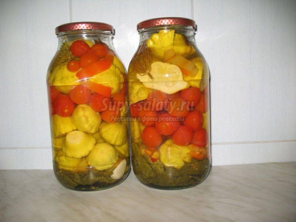 Маринование патиссонов с помидорами