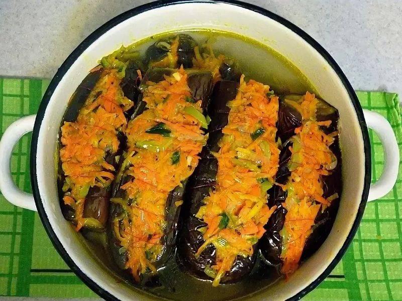 Квашеные баклажаны фаршированные морковью по корейски