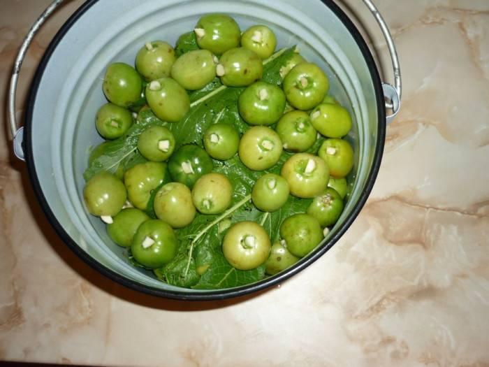 Как засолить зелёные помидоры в кастрюле или ведре