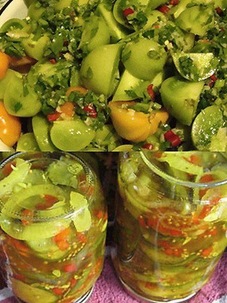 Салат из зеленых помидоров быстрого приготовления