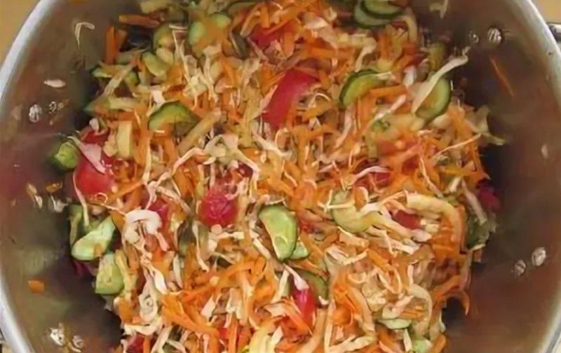 Салат «кубанский» на зиму - рецепты без стерилизации, с капустой, баклажанами и огурцами