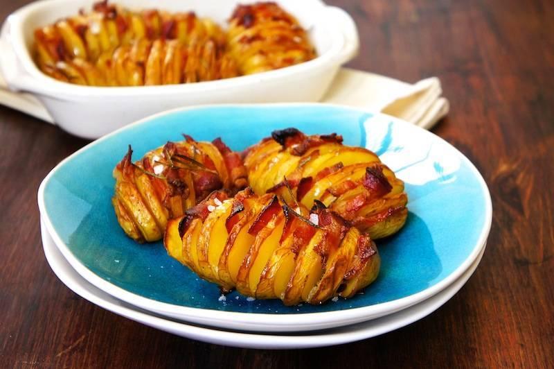 Картофель, запеченный с беконом и сыром — пошаговый рецепт с фото
