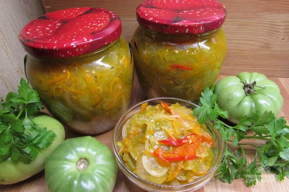 Рецепты салатов из зеленых помидоров на зиму пальчики оближешь