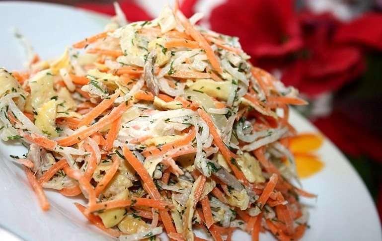 Рецепт салат с редькой и морковью (майонез). калорийность, химический состав и пищевая ценность.