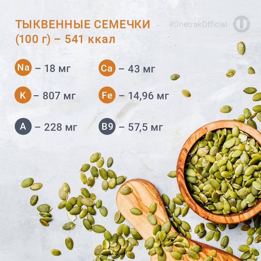 Сколько калорий в семечках жареных (подсолнуха, тыквенных)?   mnogoli.ru