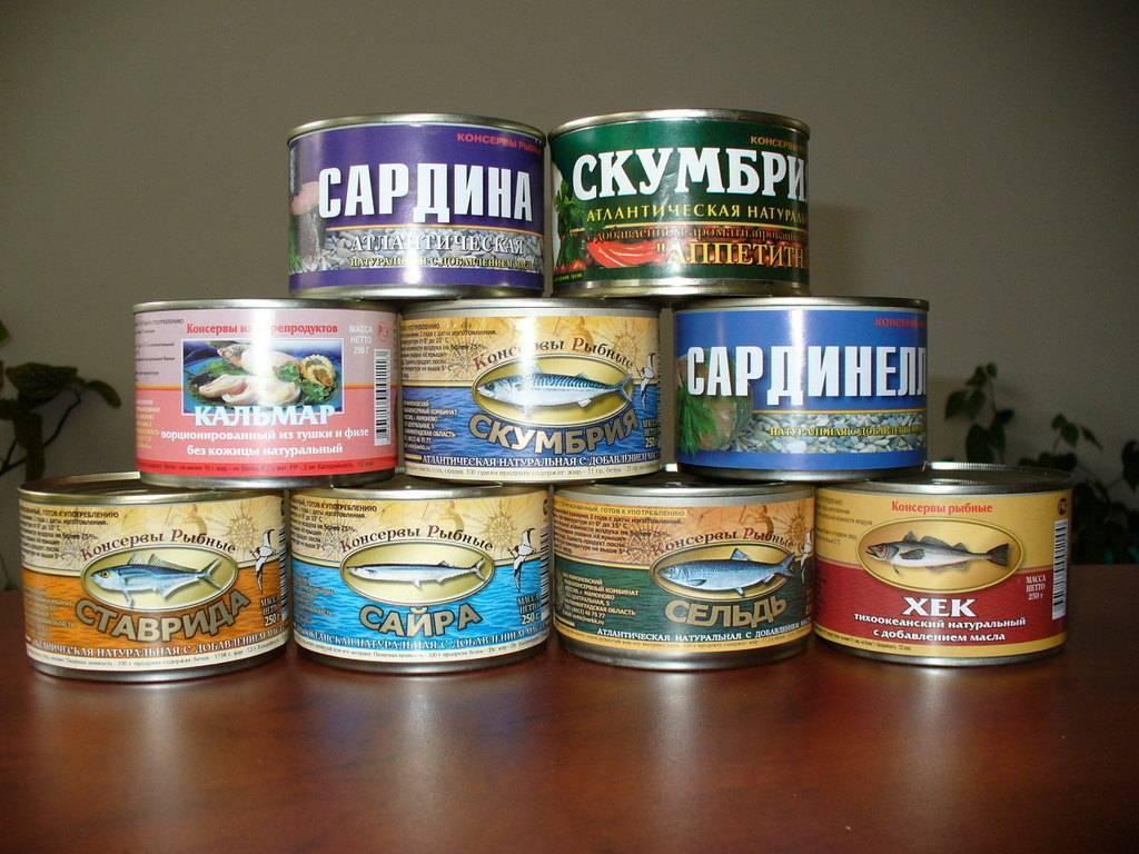 Ассортимент рыбных консервов в магазине продуктов - принципы, правила, примеры
