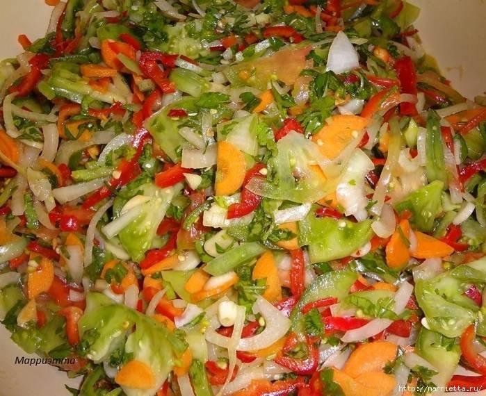 Салаты из зелёных помидоров на зиму — самые вкусные рецепты без стерилизации