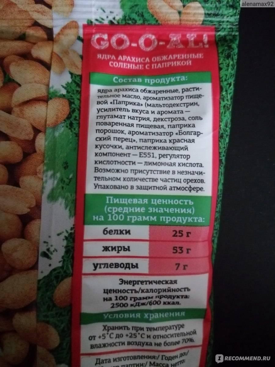 Калорийность арахиса в различных формах и видах