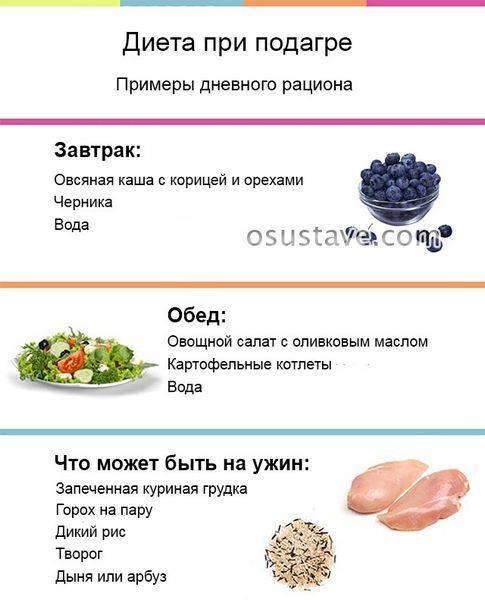 Диета при подагре и повышенной мочевой кислоте — продукты и меню