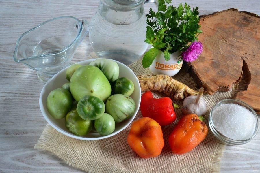 Зелёные помидоры быстрого приготовления без закатки