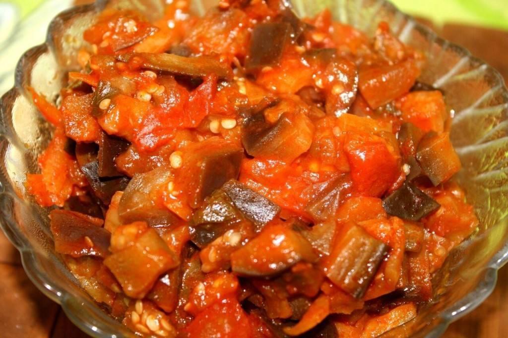 Икра из баклажанов и кабачков, по-гречески, с грибами, с болгарским перцем, орехами, по-мароккански, с томатной пастой