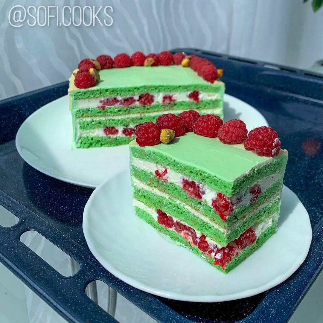 Рецепт фисташково-малинового торта