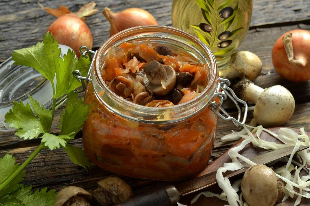 Солянка с грибами на зиму — рецепты приготовления с капустой в домашних условиях