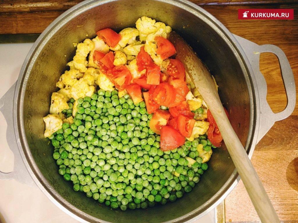 Запеканка с цветной капустой, морковью, стручковой фасолью и зеленым горошком «по-адрианочелентановски»