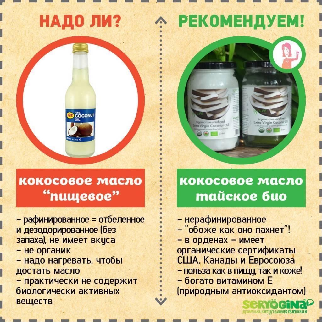 Что такое рафинированное кокосовое масло? Виды, польза и вред, применение продукта
