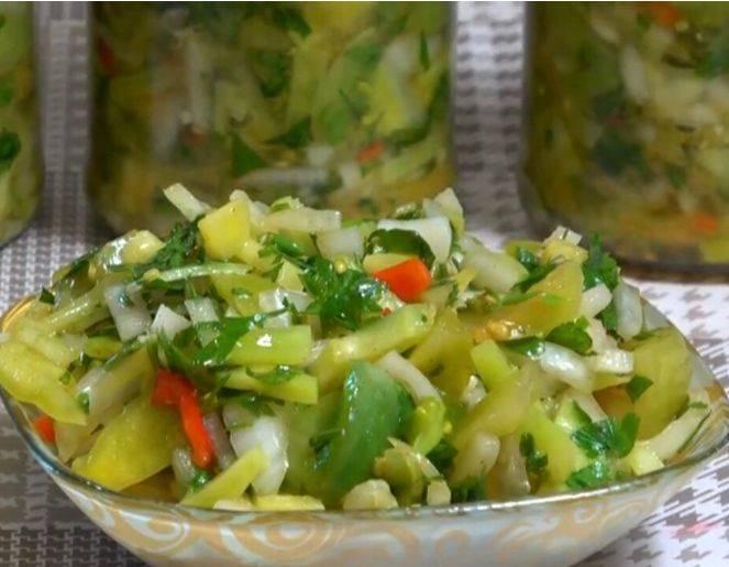 Салаты из зеленых помидор на зиму — самые вкусные рецепты