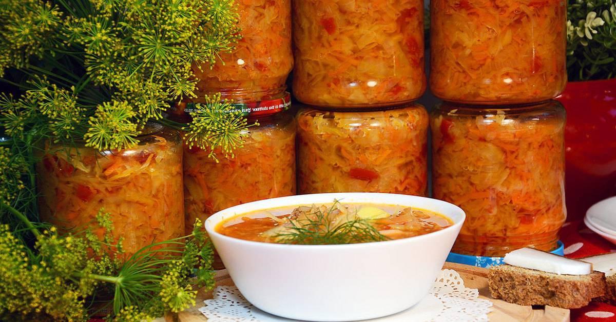 Щи на зиму в банках - рецепт с капустой, простой рецепт без болгарского перца, вкусный